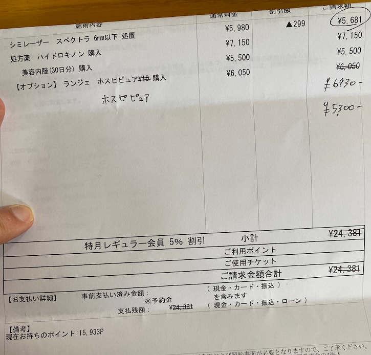 湘南美容外科クリニックのシミ取り明細表